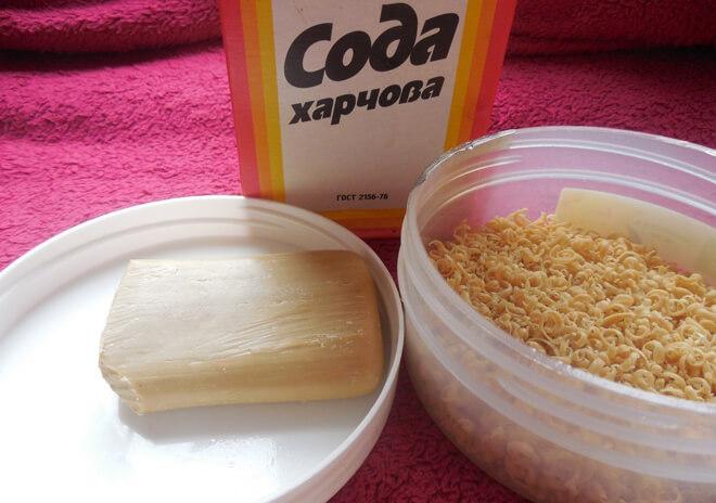 пищевая сода и хозяйственное мыло